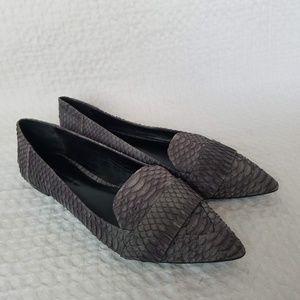 AERIN Iona Genuine Snakeskin Pointed Toe Flats